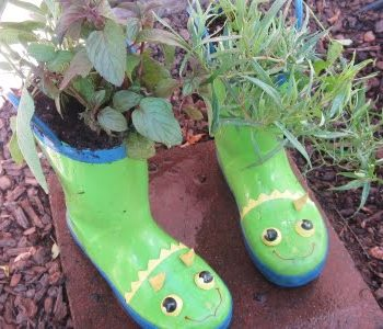Rain Boot Herb Garden