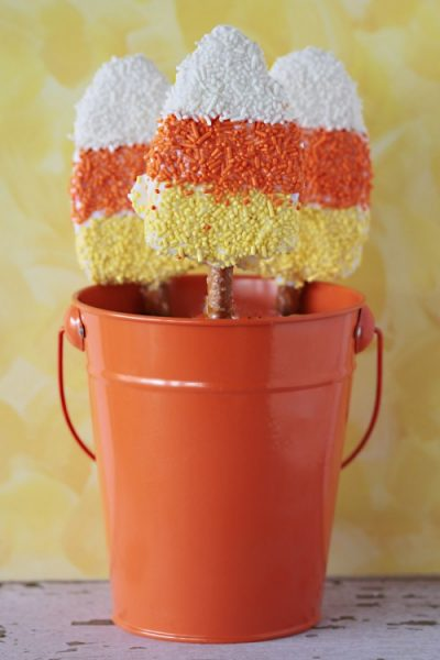 Candy Corn Krispy Treat Pretzel Pops