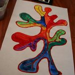 Colored Glue Leaves with Watercolor Resist