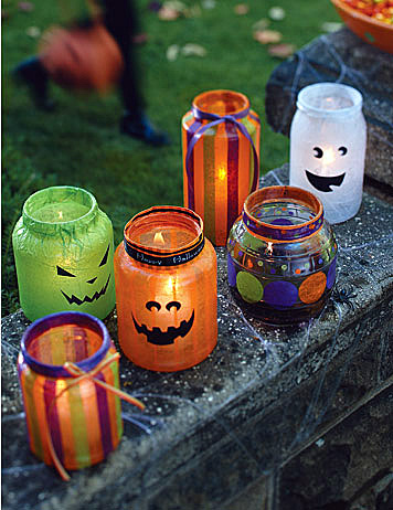 Decoupaged Halloween Lanterns