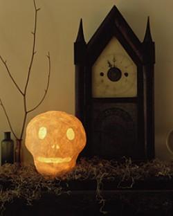Glowing Papier Mache Skull