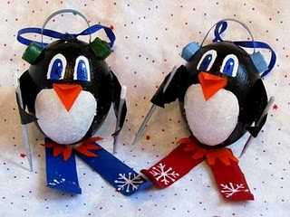 Skiing Penguin Ornaments