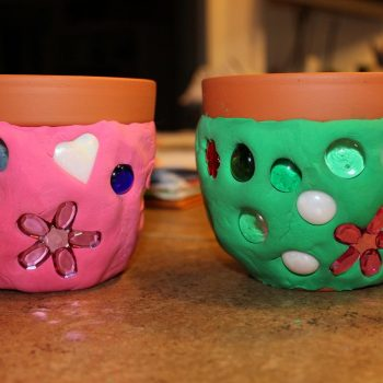 Faux Mosaic Flower Pot