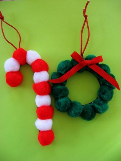 Pom Pom Christmas Ornaments