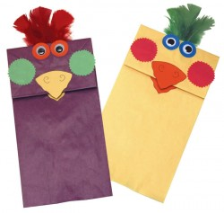Rainbow Paper Bag Bird Puppets