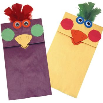 Paper Bag Bird Puppets