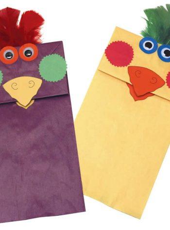 Rainbow Paper Bag Bird Puppets