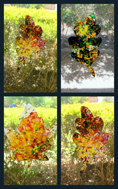 Stained Glass Crayon Leaves