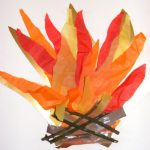 top five fireworks night craft ideas for kids, Tissue Paper Bonfire