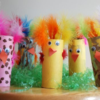 Colorful Cardboard Tube Chicks
