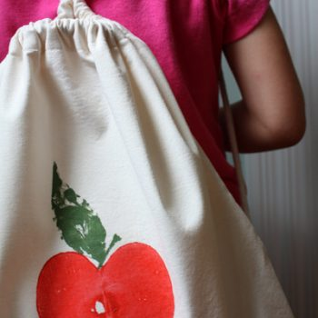 Apple Print Backpack