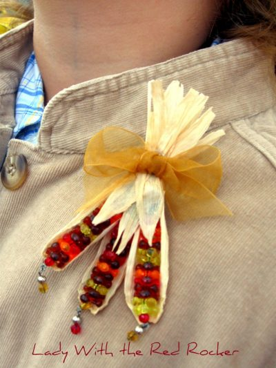 Beaded Indian Corn Pin