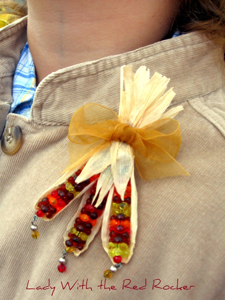 Beaded Indian Corn Pin