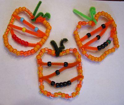 Beaded Pumpkin Jack-o-lantern Ornaments