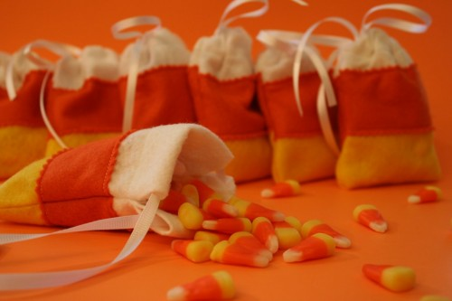 Candy Corn Felt Sachet Bags