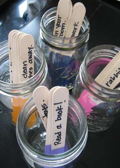 Craft Stick Chore Markers