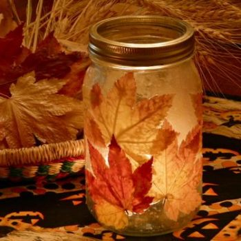 Fall Leaf Candle Jar
