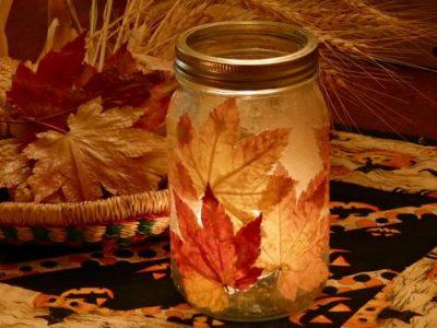 Fall Leaf Candle Jar