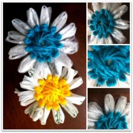 Plarn Flower Brooch