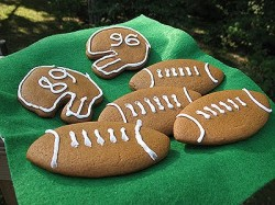 Soft Gingerbread Football Cookies