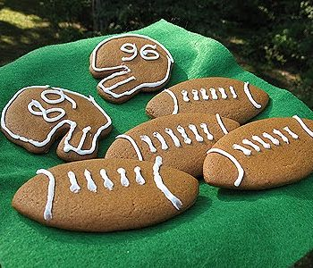Soft Gingerbread Football Cookies