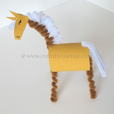 Cardboard tube horse fun family crafts for Cool things made out of horseshoes