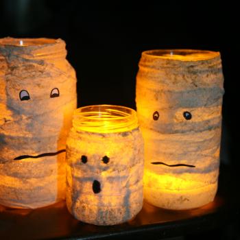 Mummified Glass Jar Candle Holders