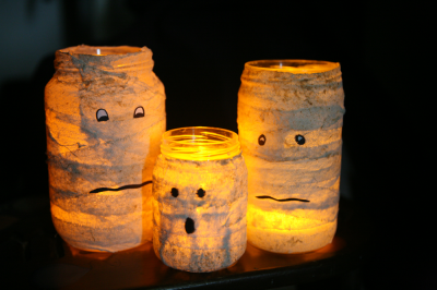 Mummified Glass Jar Candle Holders