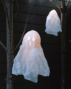 Floating Papier Mache Ghosts