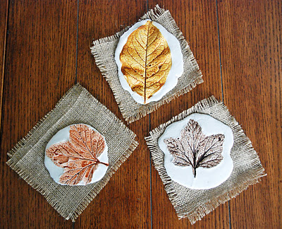 beautiful leaf prints made from plaster of paris