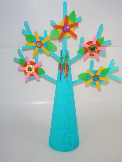 Popsicle Stick Jewelry Tree