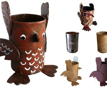 soup can paper mache owl