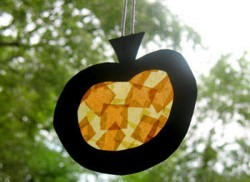 Faux Stained Glass Pumpkin Window Hanger