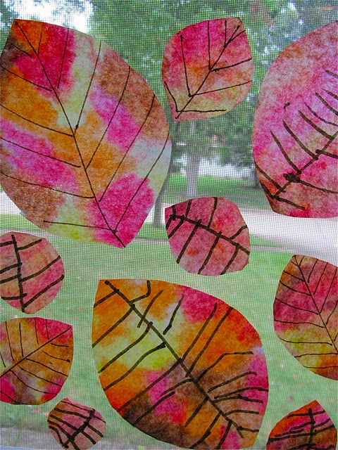 Tie Dye Coffee Filter Fall Leaves
