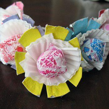 Valentine Egg Carton Lollipop Flowers
