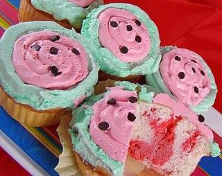 Watermelon Poke Cupcakes