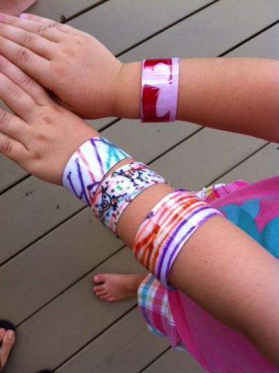 Plastic bottle cuff bracelets