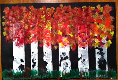 Fall Birch Tree Painting