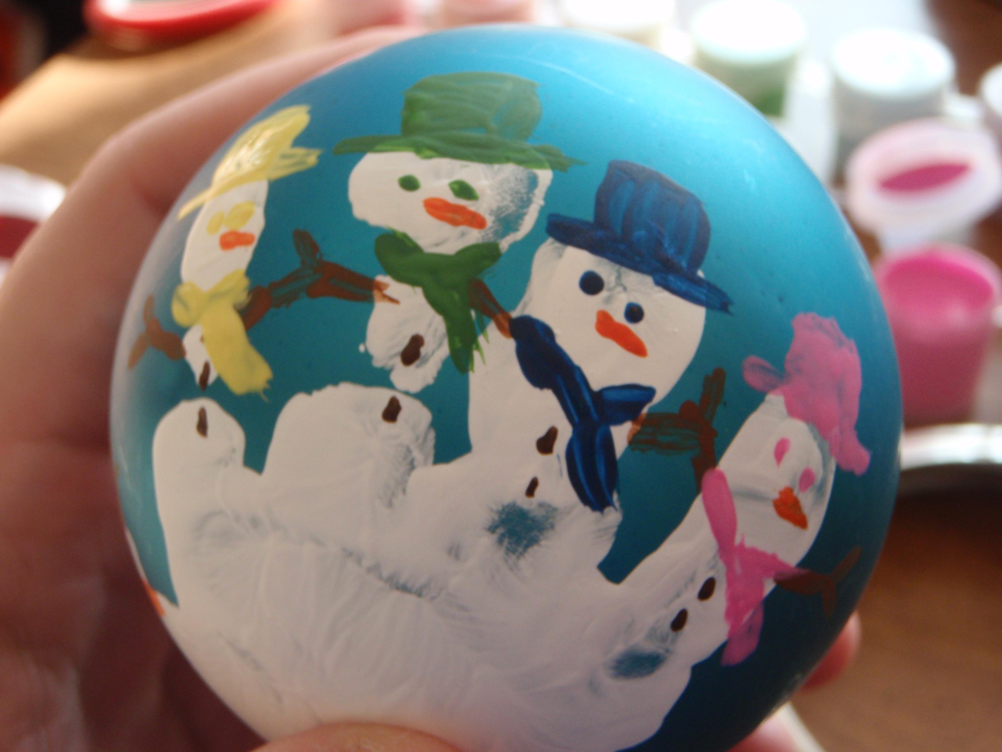 Handprint Snowman Ball Ornament