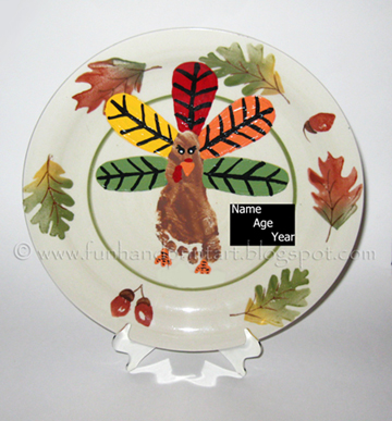 Footprint Turkey Keepsake Plate
