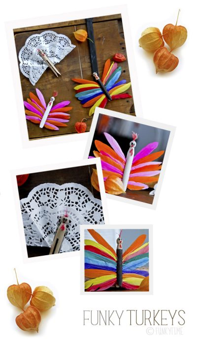Funky Clothes Pin Turkeys