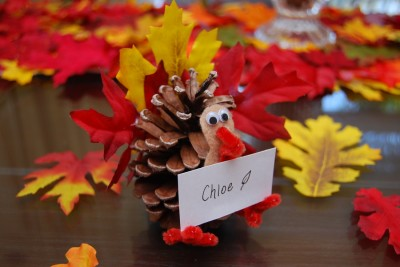 Pine Cone Turkey Place Card Holders