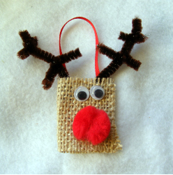 Burlap reindeer ornament fun family crafts for Cub scout ornament craft