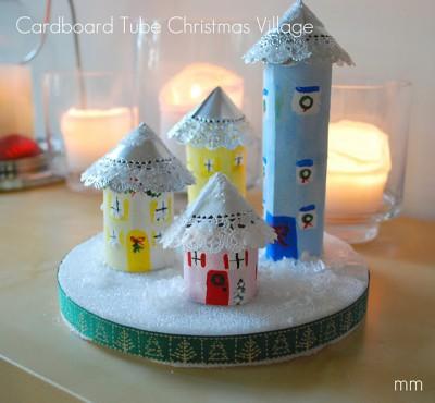 Cardboard Tube Christmas Village