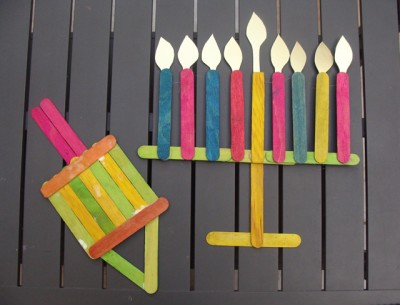 Craft Stick Menorah and Dreidel