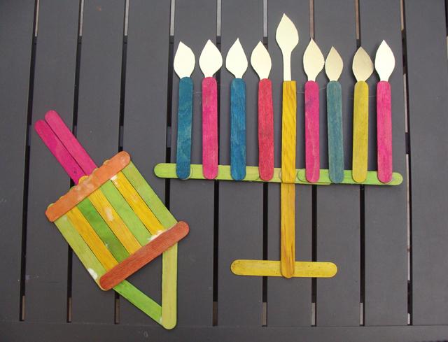 Craft Stick Menorah and Dreidel
