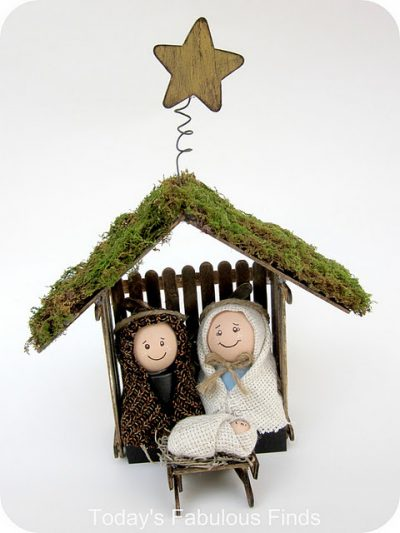 Craft Stick and Clay Pot Children's Nativity Set