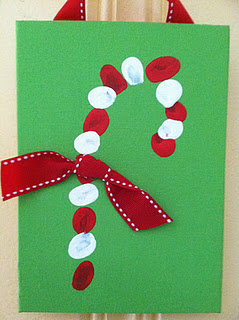 Fingerprint Candy Canes | Fun Family Crafts