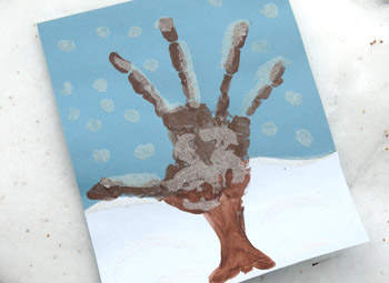 Snowy Handprint Tree