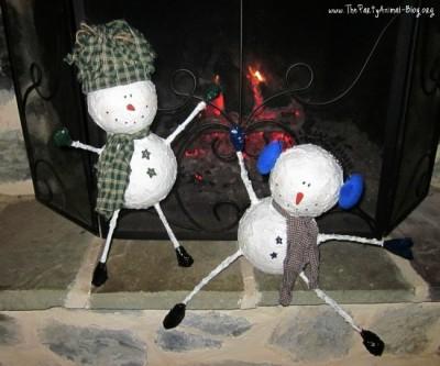 Whimsical Paper Mache Snowmen